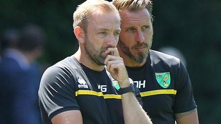 Norwich City U23s head coach Matt Gill and assistant Darren Huckerby, right, have had their squad bo