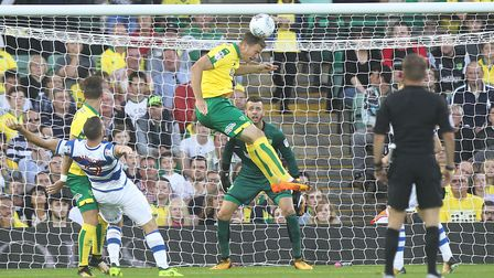 City's man-mountain Christoph Zimmermann clears his side's lines.