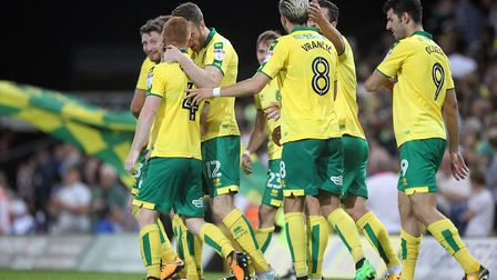 Harrison Reed of Norwich celebrates scoring his side's 2nd goal during the Sky Bet Championship matc