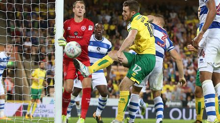 Marley Watkins of Norwich in action during the Sky Bet Championship match at Carrow Road, NorwichPic