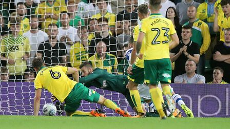 Angus Gunn of Norwich makes a save during the Sky Bet Championship match at Carrow Road, NorwichPict