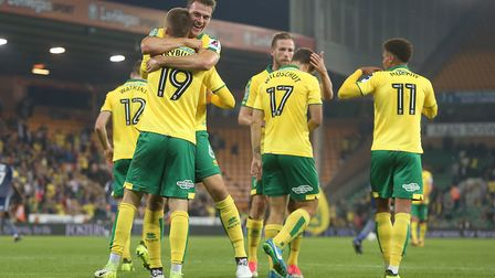 Tom Trybull of Norwich celebrates scoring his sideÕs 4th goal during the Carabao Cup match at Carrow