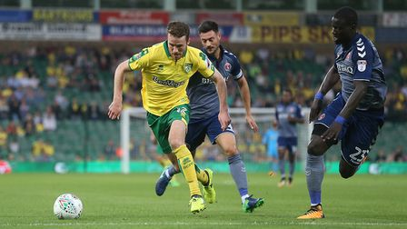 Marley Watkins of Norwich in action during the Carabao Cup match at Carrow Road, NorwichPicture by P