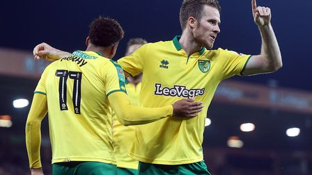 Marley Watkins of Norwich celebrates scoring his side's third goal during the Carabao Cup match at C