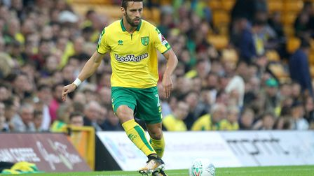 Ivo Pinto of Norwich in action during the Carabao Cup match at Carrow Road, NorwichPicture by Paul C