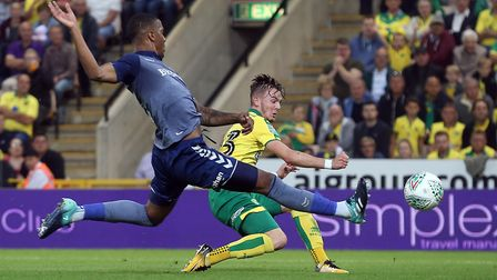 James Maddison of Norwich has a shot on goal during the Carabao Cup match at Carrow Road, NorwichPic
