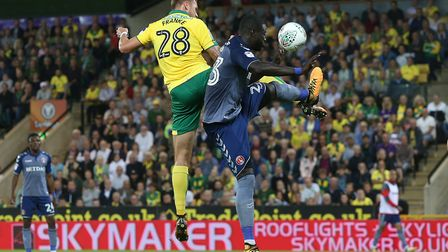 Marcel Franke of Norwich heads for goal during the Carabao Cup match at Carrow Road, NorwichPicture