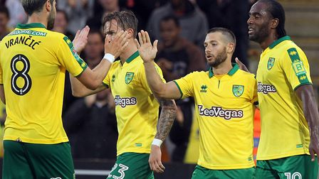 Wes Hoolahan of Norwich celebrates scoring his sides 2nd goal during the Carabao Cup match at Carrow