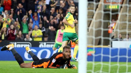 Norwich City captain Wes Hoolahan was on target in the first half against Swindon. Picture: Paul Che