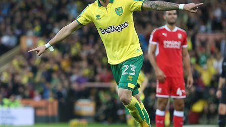 James Maddison of Norwich celebrates scoring his sides 3rd goal during the Carabao Cup match at Carr