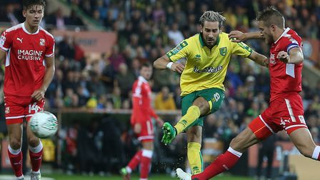 Mario Vrancic of Norwich has a shot on goal during the Carabao Cup match against Swindon at Carrow R