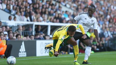 Josh Murphy and Neeskens Kebano clash at Craven Cottage. Picture: Paul Chesterton/Focus Images