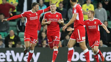 Paul Mullin of Swindon Town celebrates scoring his side's second goal during the Carabao Cup match a