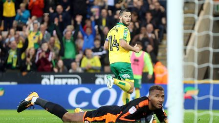 Lawrence Vigouroux can only watch as Wes Hoolahan scores Norwich City's second goal in their Carabao