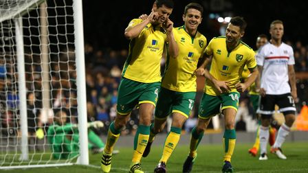 Graham Dorrans celebrates after his second of the game at Fulham last season. The joy didn't last...