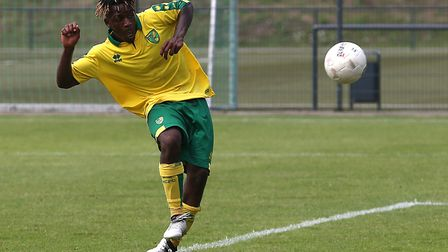Trial striker Pierre Fonkeu scored as Norwich City U23s drew 2-2 with Burnley at Colney. Picture by