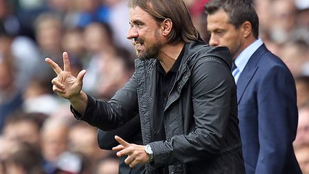 Norwich head coach Daniel Farke during the Sky Bet Championship match at Craven Cottage, London. Pic