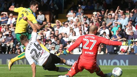 Nelson Oliveira was on target at Craven Cottage to earn Norwich City an opening day point. Picture: