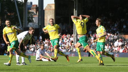 Nelson Oliveira of Norwich celebrates scoring his side's equalising goal during the Sky Bet Champion