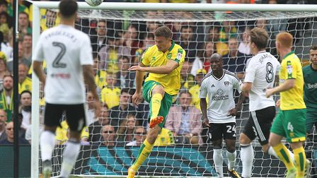 Christoph Zimmermann clears the ball during Norwich City's 1-1 draw at Fulham on the opening weekend