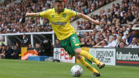James Husband of Norwich in action during the Sky Bet Championship match at Craven Cottage, LondonPi