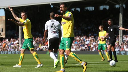 Russell Martin of Norwich appeals for a penalty for handball during the Sky Bet Championship match a