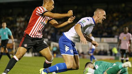 James Vaughan, left, in action for Sunderland during Thursday's 1-0 win at Bury in the first round o