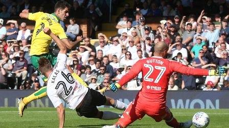 Nelson Oliveira, pictured scoring at Fulham on the opening day of the season, is back in Norwich Cit