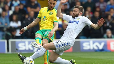 Stuart Dallas in action for Leeds last season, pictured tackling Ivo Pinto during a 3-3 draw with No