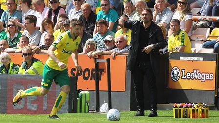 Norwich City head coach Daniel Farke watches on as James Husband breaks against Sunderland. Picture: