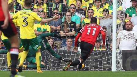 Lewis Grabban certainly enjoyed his Carrow Road return with Sunderland. Picture: Paul Chesterton/Foc