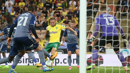 Marco Stiepermann of Norwich has a shot on goal during the Carabao Cup match at Carrow Road, Norwich