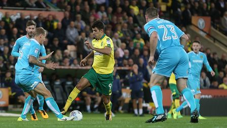 Nelson Oliveira's groing injury is a big chance for his Norwich City rivals. Picture: Paul Chesterto
