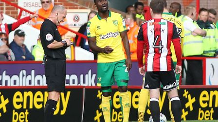 Alex Tettey picks up his obligatory yellow card during Norwich City's 1-0 win at Sheffield United..P