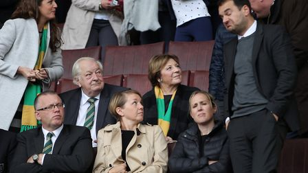 Delia Smith and Michael Wynn Jones directors of Norwich City in the stand prior to the Sky Bet Champ