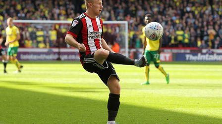 Mark Duffy of Sheffield United in action against Norwich City during the Sky Bet Championship match