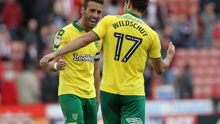 Ivo Pinto and Yanic Wildschut celebrate their success at Sheffield United. Picture: Michael Sedgwick