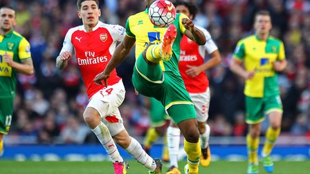 Cameron Jerome controls the ball during Norwich City's last trip to Emirates Stadium, a 1-0 loss to