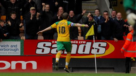 Jamie Cureton celebrates a goal against Barnsley. Picture: Nick Butcher