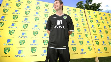 Jamie Cureton helps launch the new Norwich City away kit for the 2008-2009 season at the Royal Norfo