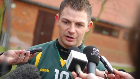 Jamie Cureton talks to the media at the Colney Training Centre. Picture: Antony Kelly