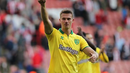 Christoph Zimmermann of Norwich City gives the thumbs up to the fans after his teams 1-0 against She