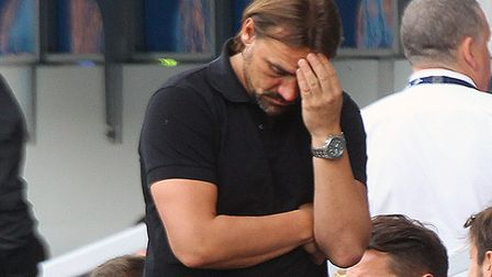 Norwich head coach Daniel Farke looks frustrated during the Sky Bet Championship match at The Den, L