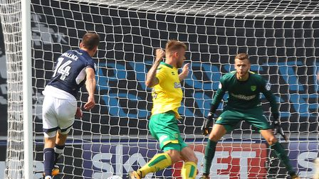 Jed Wallace of Millwall scores his side's third goal during the Sky Bet Championship match at The De