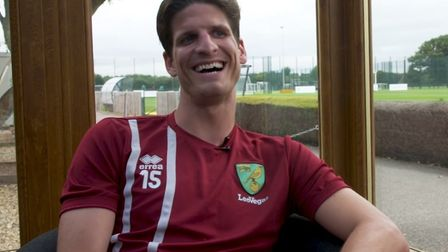 Timm Klose laughs at questions posed to him for Norwich City's Youtube channel. Picture: Norwich Cit
