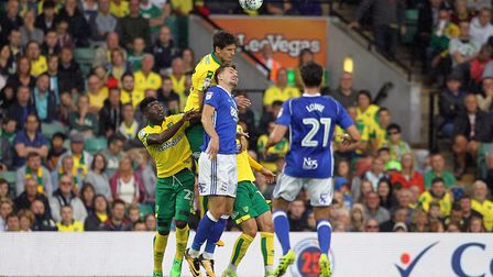 Timm Klose climbs highest to win a header against Birmingham at Carrow Road on Saturday. Picture: Pa