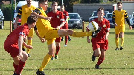Action from the Mummery Cup clash between Waveney and Caister. Caister won 4-2 on penalties after th
