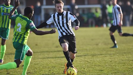 Dereham's Danny Beaumont almost snatched a dramatic equaliser against Ware. Picture: Ian Burt