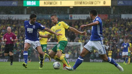 Marco Stiepermann started at left-back for Norwich City in today's win over Birmingham. Picture by P