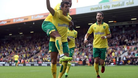 Nelson Oliveira of Norwich celebrates scoring his sides 1st goal during the Sky Bet Championship mat